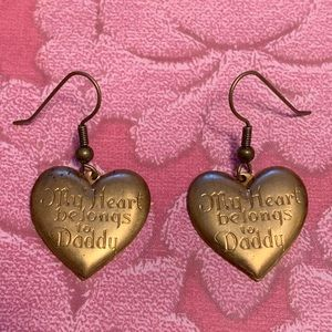 "Vintage ""My Heart Belongs to Daddy"" Heart Earring"